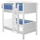 MATTI Etagenbett 100x200cm Buche weiß lackiert / Stoffverkleidung blau