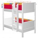 MATTI Etagenbett 100x200cm Buche weiß lackiert / Stoffverkleidung rot
