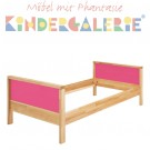 MATTI Kinderbett / Jugendbett natur / Fllungen pink