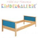 MATTI Kinderbett / Jugendbett natur / Füllungen hellblau