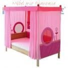MATTI Himmelbett 100x200cm Buche natur / Stoffverkleidung rosa