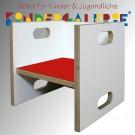 debe.detail Würfelhocker / Wandelstuhl weiß / rot