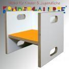 debe.detail Würfelhocker / Wandelstuhl weiß / orange